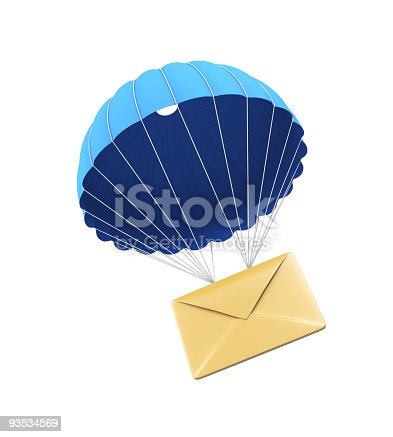 istock Beige envelope with a blue parachute illustrated on white 93534569