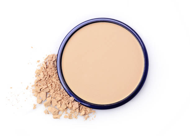 Beige face powder for make up Beige face powder for make up in open black box isolated on white nude women pics stock pictures, royalty-free photos & images