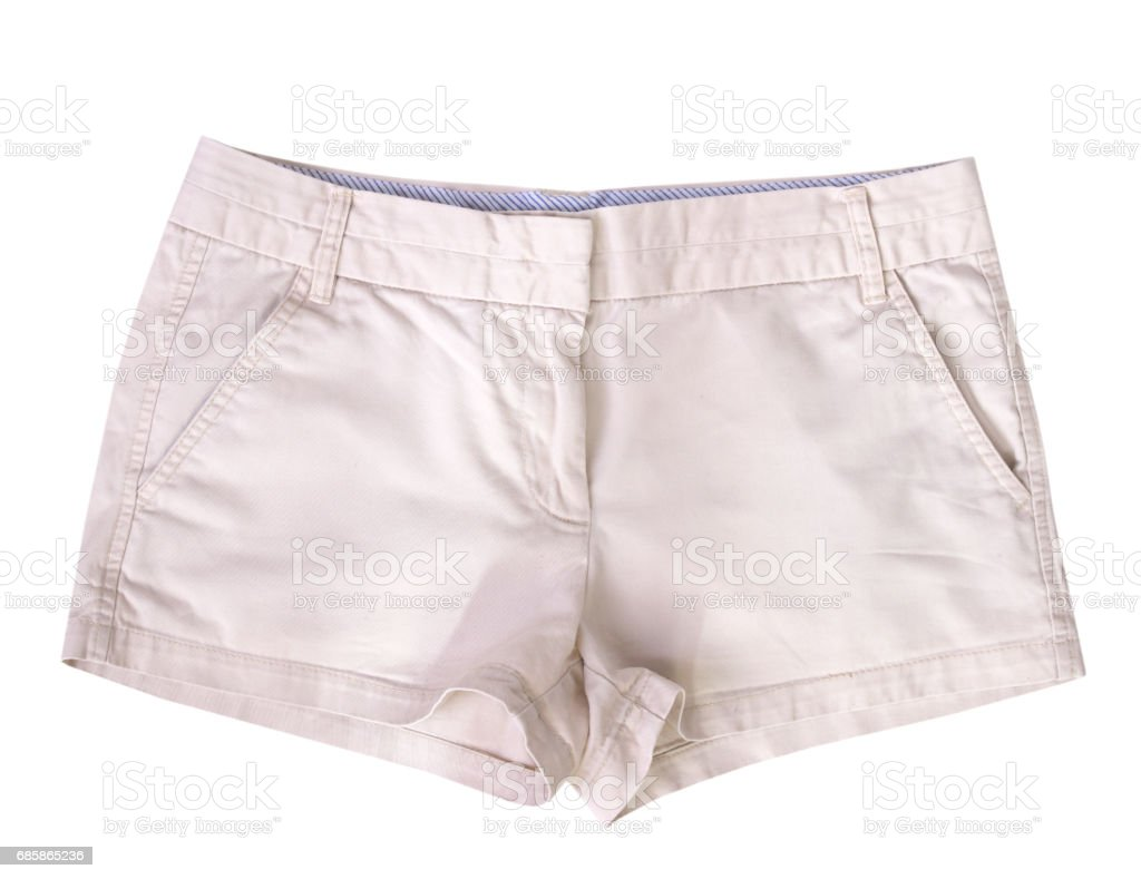 Beige female shorts isolated. stock photo
