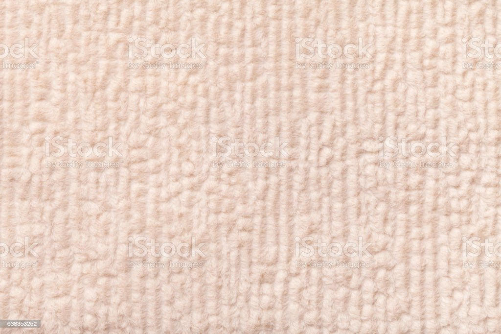 Beige Fluffy Background Of Soft Fleecy Cloth Texture Of Textile
