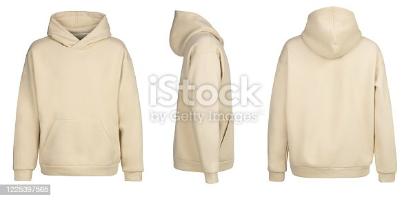 Beige hoodie template. Hoodie sweatshirt long sleeve with clipping path, hoody for design mockup for print, isolated on white background. Shooted on a invisible mannequin