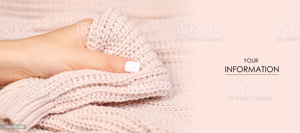 d55e9c1e4cad29 Beige Knitted Sweater Texture Fabric Textile Female Hand Macro ...