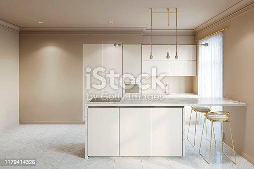 istock Beige modern interior kitchen with breakfast bar and empty wall 1179414326