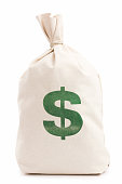 Beige money bag with green dollar sign against white