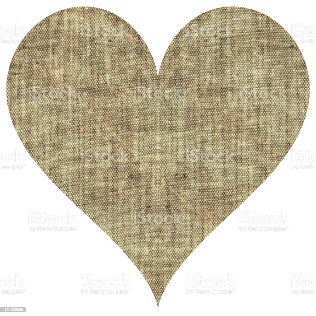 Beige natural canvas sackcloth heart stock photo