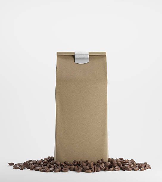 Beige pack of coffee against white background – Foto