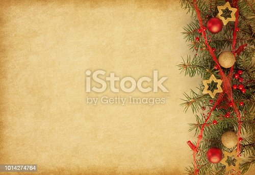 istock Beige paper background with Christmas border. 1014274764