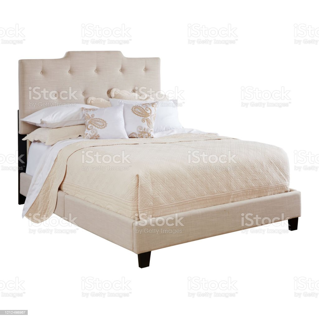 Beige Queen Upholstered Bed Isolated On White Background Side View Of Brown Italia Queen Size Bed With Linen And High Tufted Headboard And Wooden Bed Frames Bedroom Collection Furniture Stock Photo