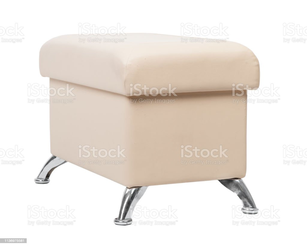 Beige rectangular pouf