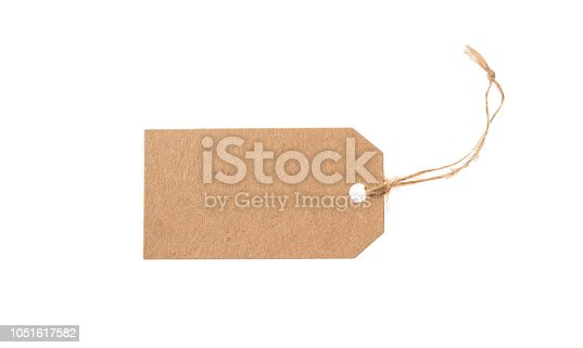 Beige recycled blank tag and top view isolated on a white background