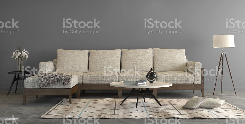 Beige sofa in a living room , letter box composition – Foto