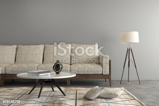 istock Beige sofa in a living room , letter box composition 579146718