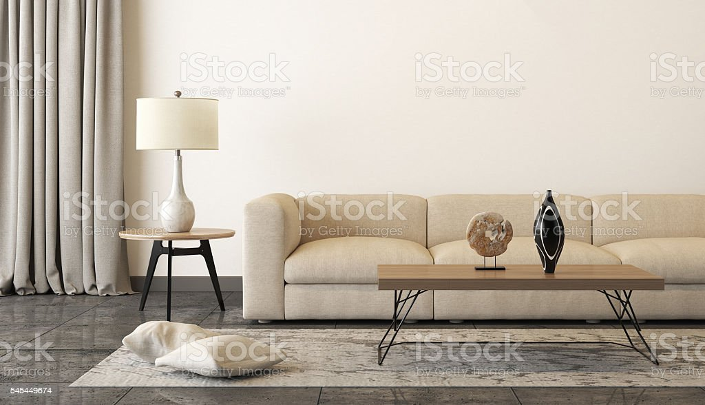 Beige sofa with a living room like setup around it – Foto