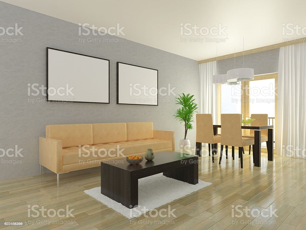 Admirable Beige Sofa With Dining Table And Four Chairs Stock Photo Spiritservingveterans Wood Chair Design Ideas Spiritservingveteransorg
