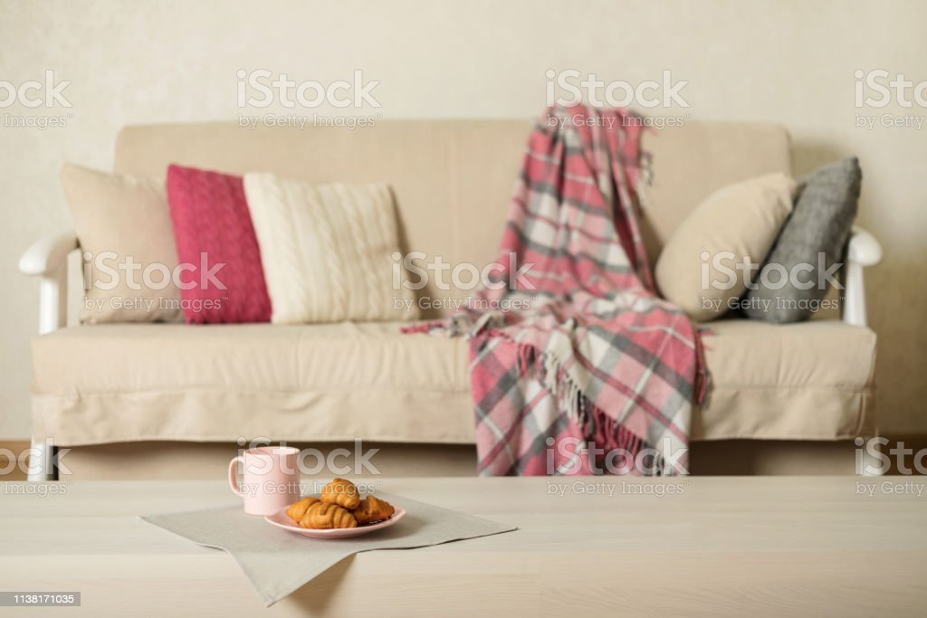 Incredible Beige Sofa With Plaid Colorful Pillows And Coffee With Cjindustries Chair Design For Home Cjindustriesco