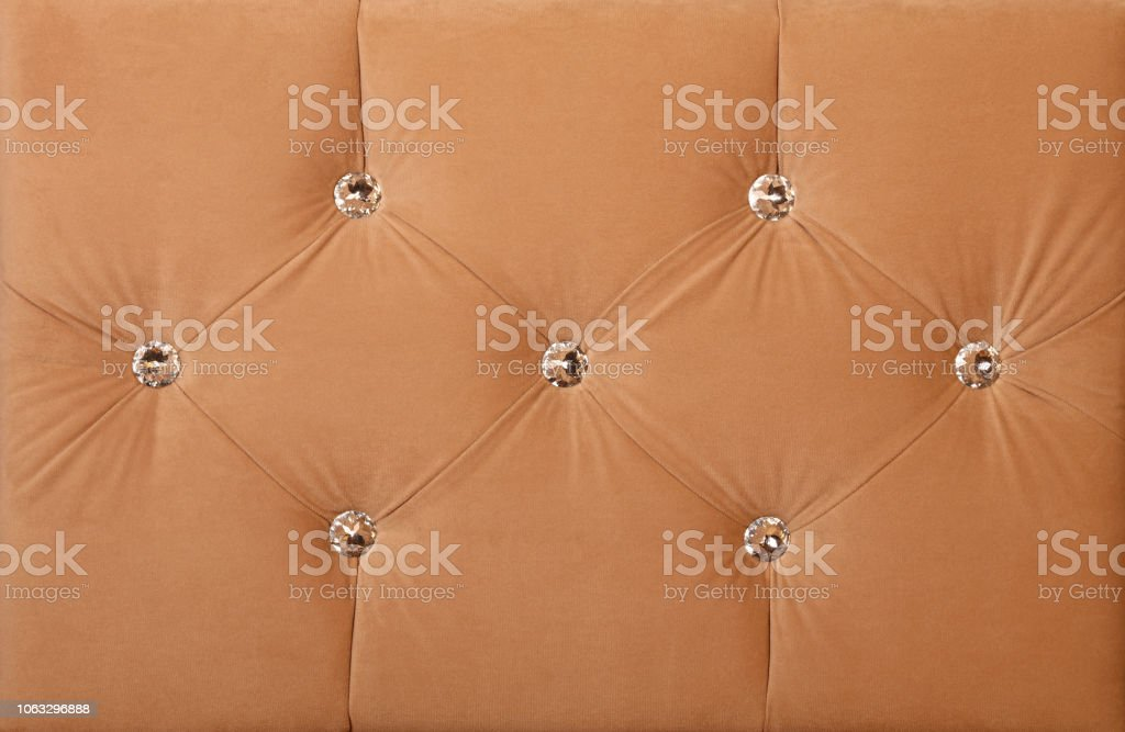 Beige Soft Velvet Bed Headboard With Rhinestones Stock Photo Download Image Now Istock