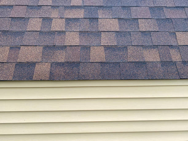 beige tan wood siding wall with new brown and black roof shingles stock photo