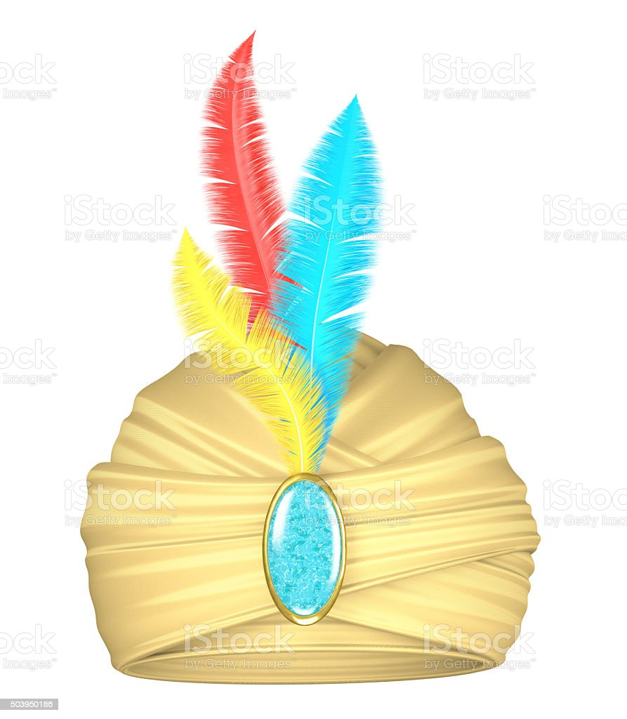 Beige turban with feathers stock photo