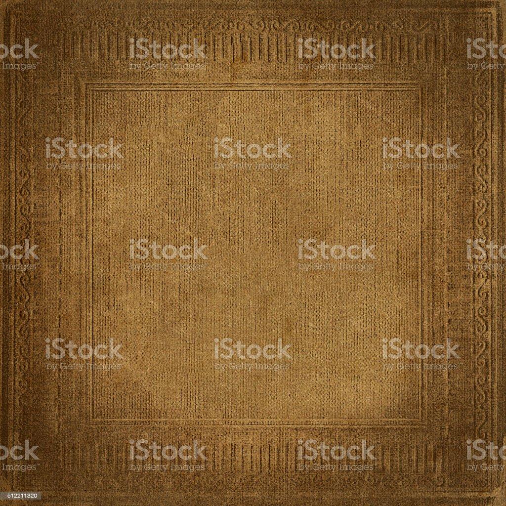 Beige vintage background, grunge fabric texture, antique ornamental frame stock photo