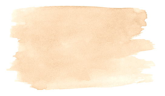 Beige watercolor, background with clear borders and natural splashes. Sand color watercolor brush stains. Copy space.