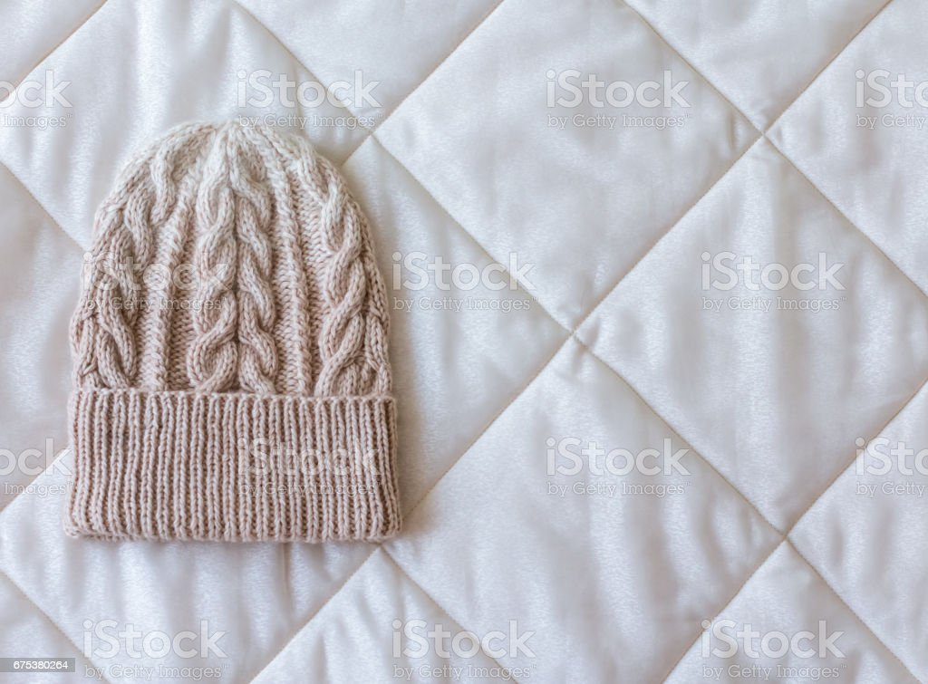 beige white gradient hat wool knitted manually stock photo