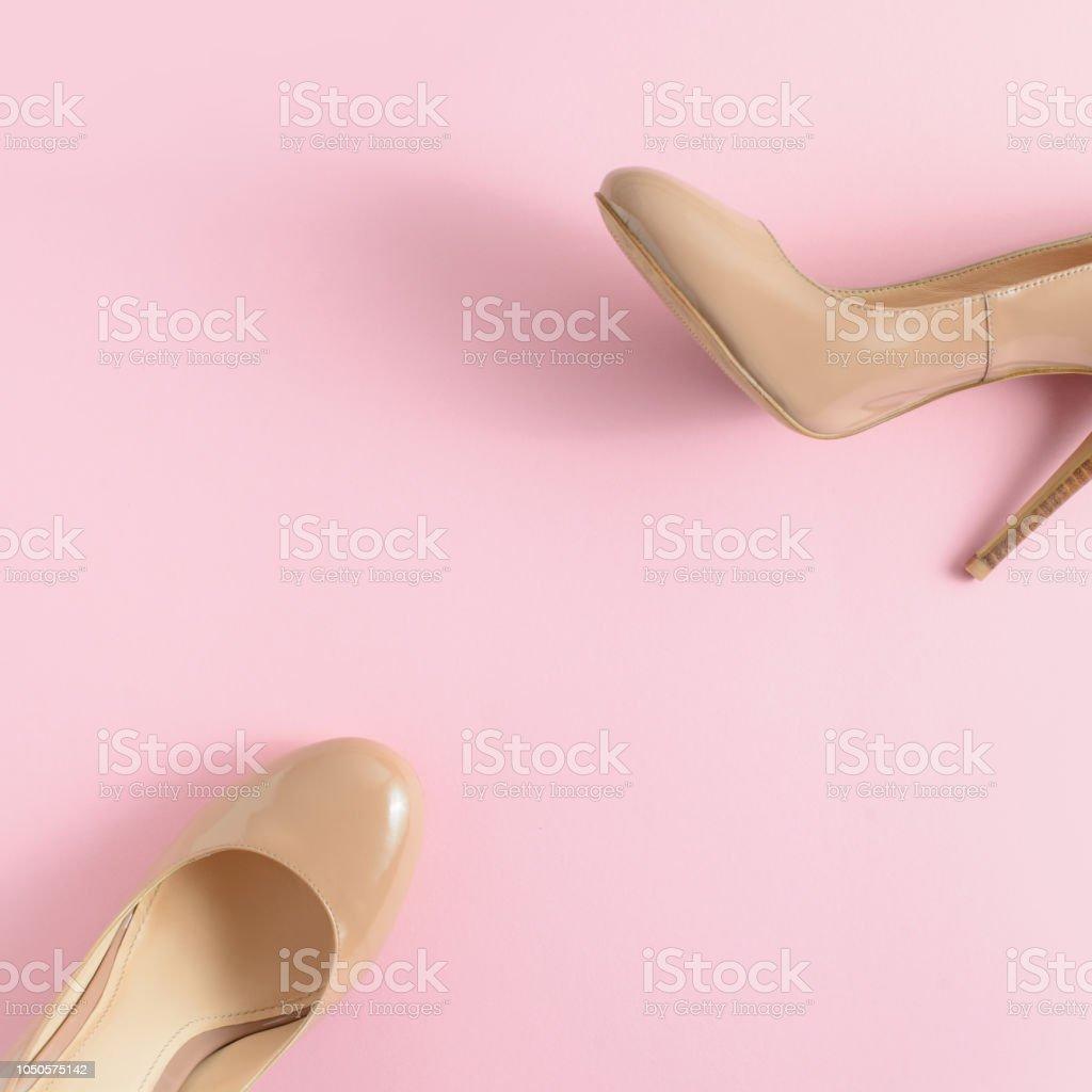 b96f42f8aa4 Beauty, Beige, Blogging, Boot, Boutique. Beige women high heel shoes on pink  background. Fashion ...