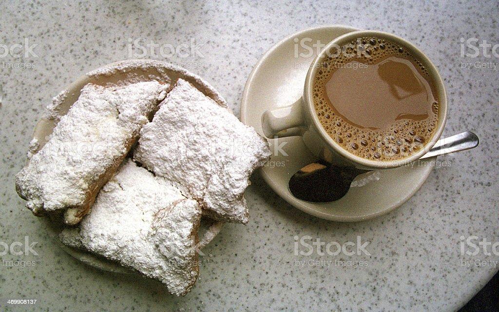 beignets and cafe au lait stock photo