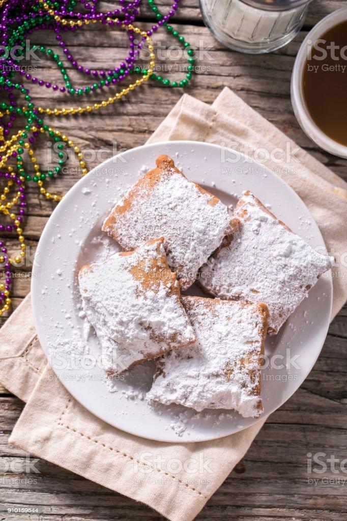Beignets New Orleans Mardi Gras stock photo