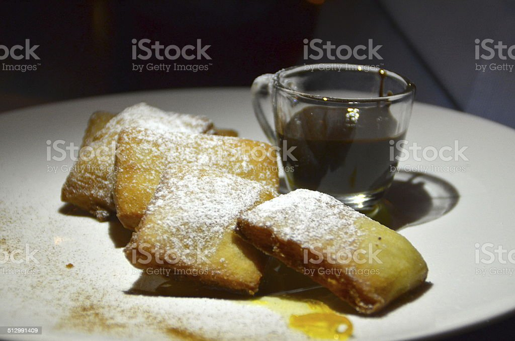 Beignets with powdered sugar stock photo