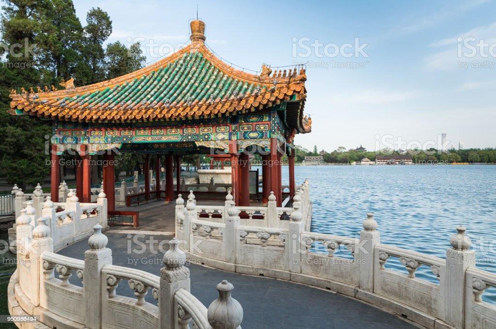 Beihai park pavilion stock photo