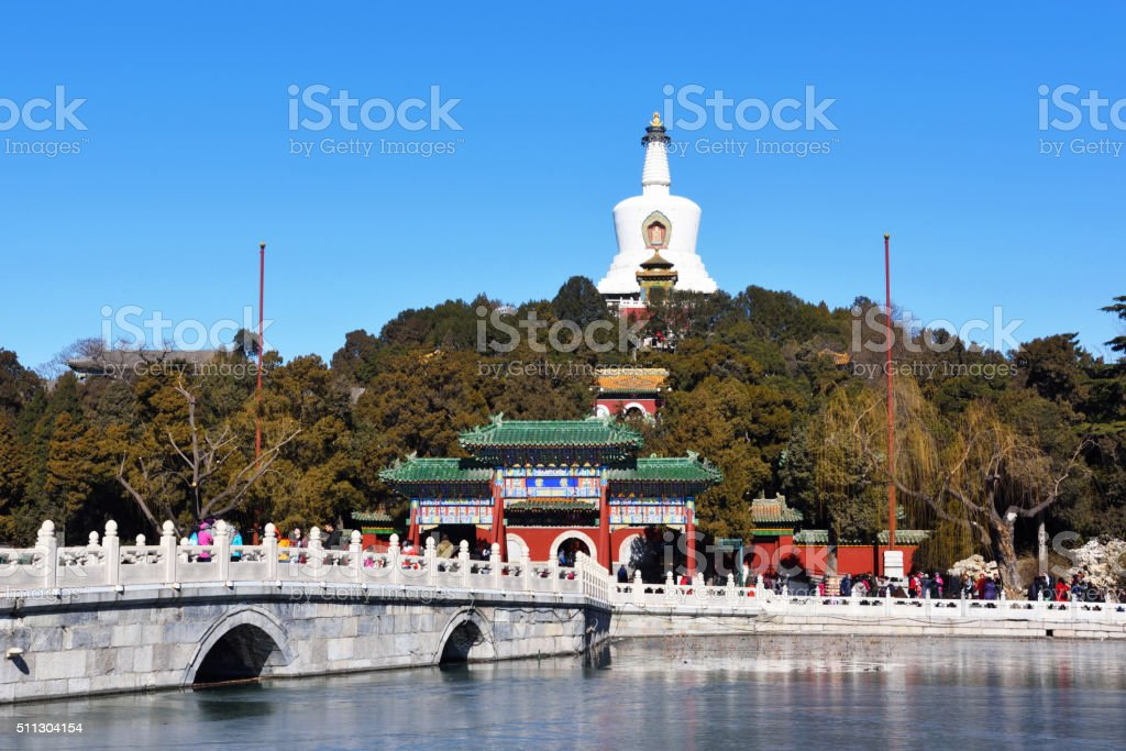 Beihai park scenery in winter stock photo
