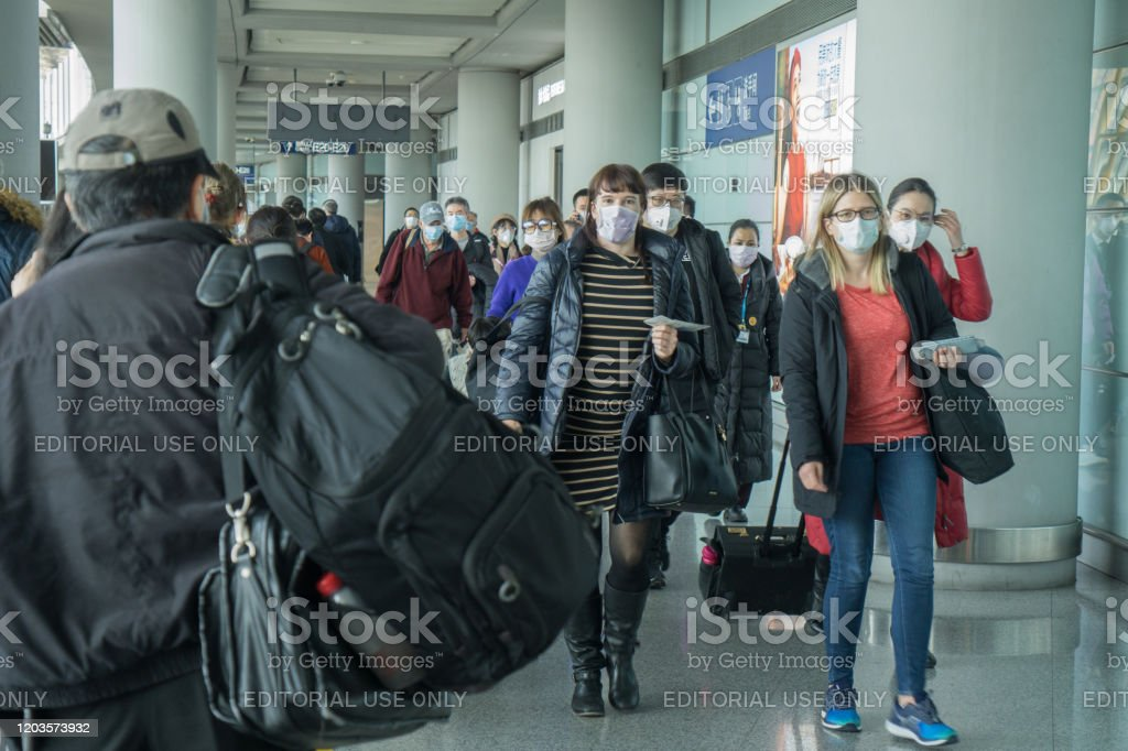 Beijing Airport During Coronavirus Outbreak - Foto stock royalty-free di Aeroporto