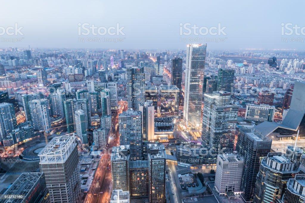 Beijing Blue Hour stock photo