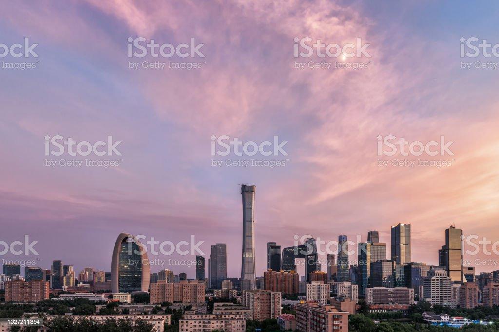 Beijing CBD skyline at sunset stock photo
