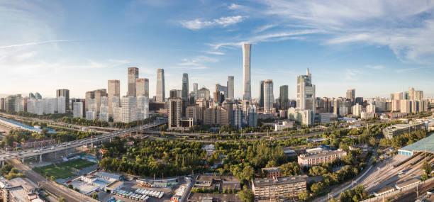 北京 cbd のスカイライン パノラマ昼間 - 北京 ストックフォトと画像