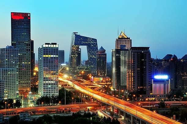 北京のビジネス街のスカイラインの夕日、夜 - 北京 ストックフォトと画像