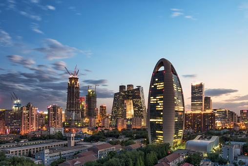 Beijing CBD skyline sunset, night