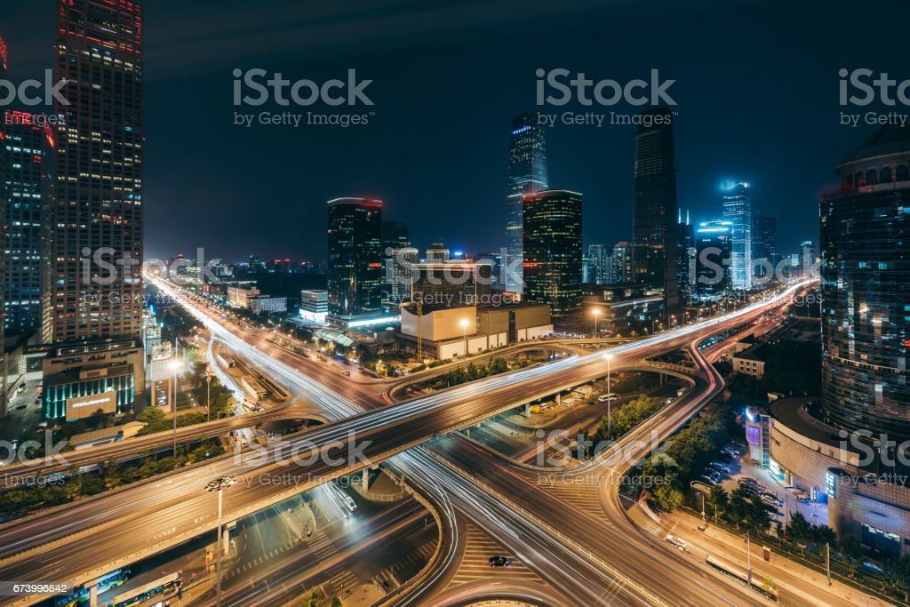 Beijing Central Business District at Night Beijing Central Business District at Night Aerial View Stock Photo