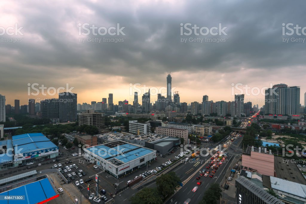 Beijing Central Business district buildings skyline CBD in the storm stock photo