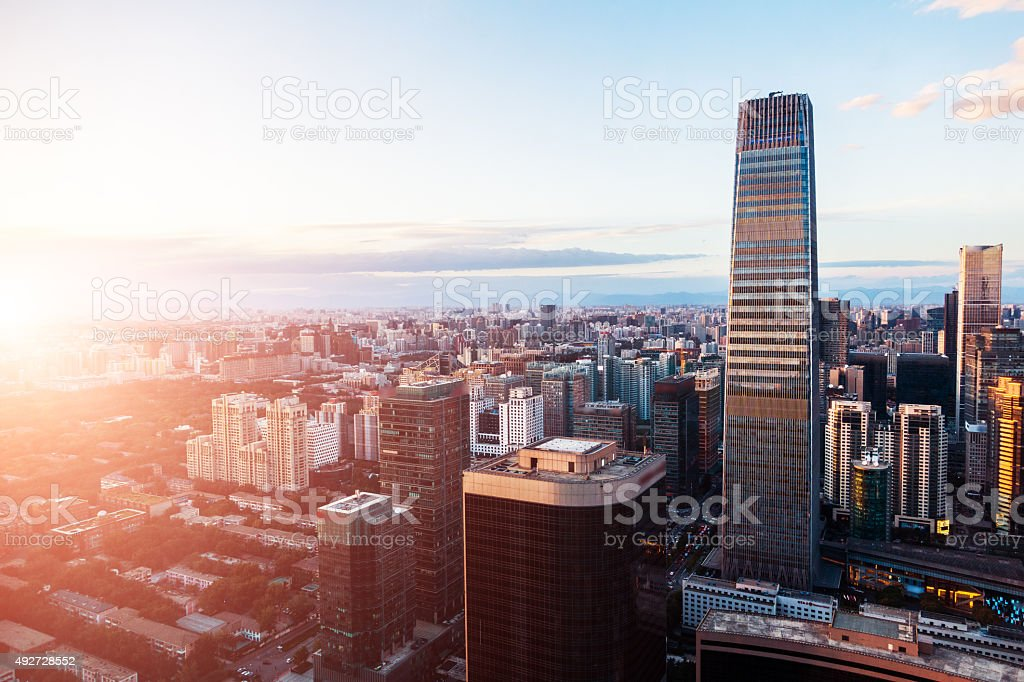 Beijing Central Business district buildings skyline, China cityscape stock photo