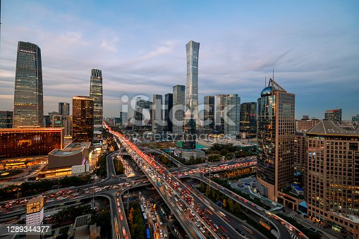 istock Beijing Central Business district buildings skyline night, beijing China cityscape 1289344377