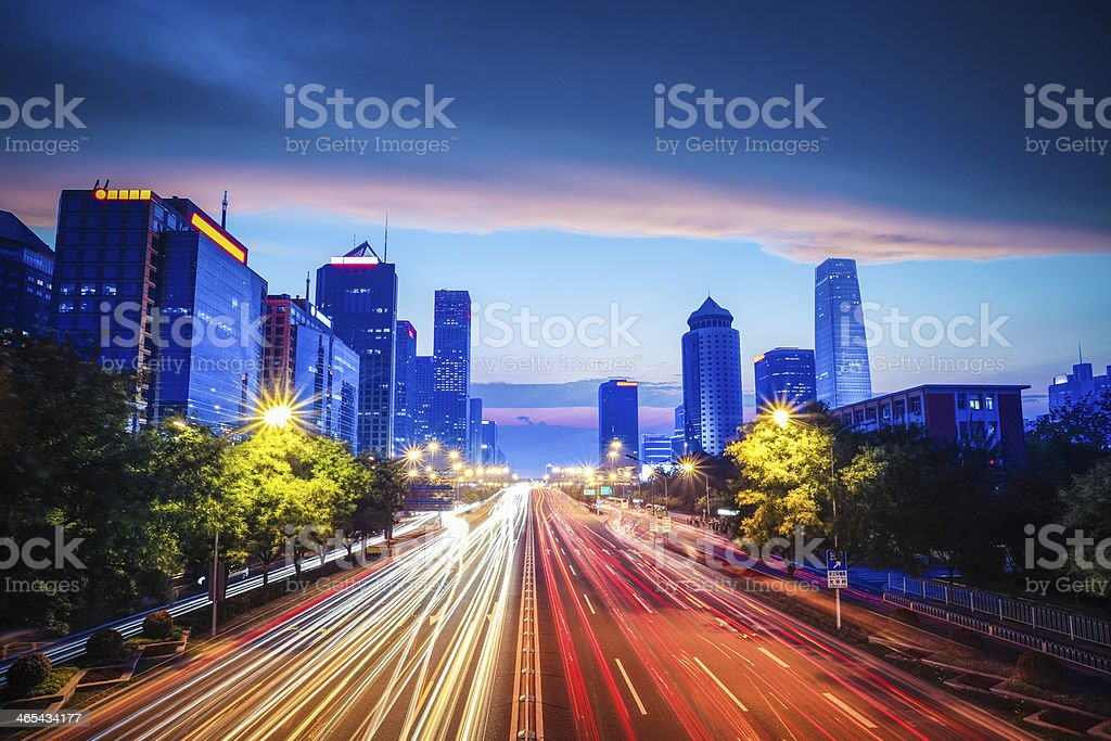 beijing central business district with traffic stock photo