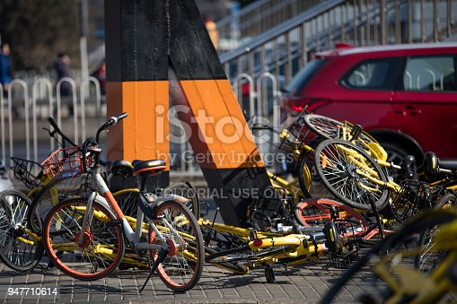 istock Beijing, China Abandoned shared bicycle 947710614