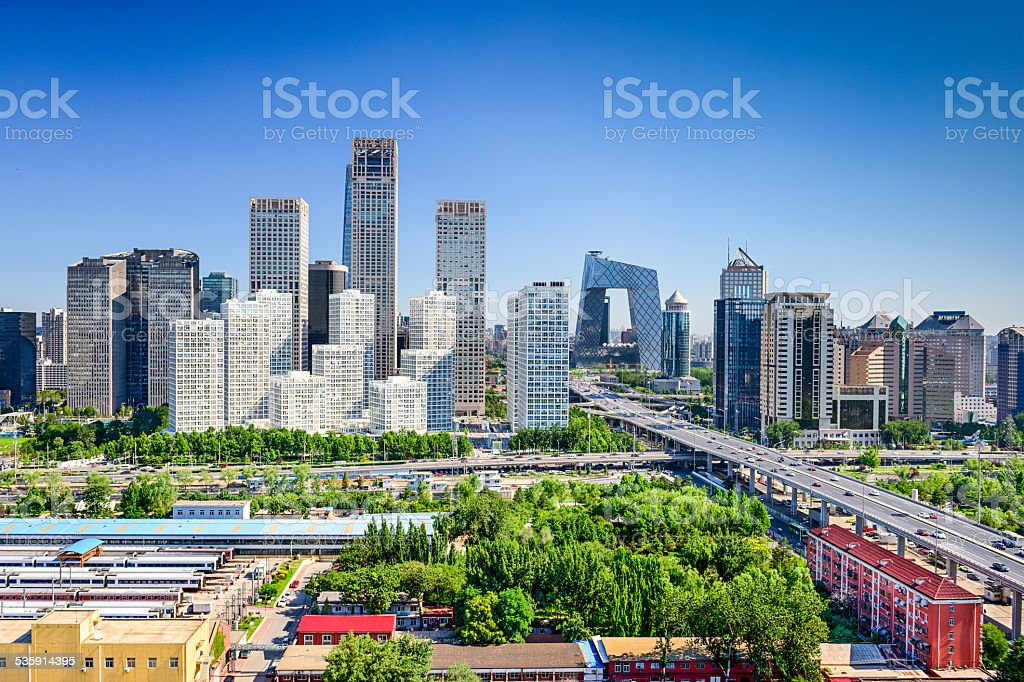 Beijing China FInancial District Skyline stock photo