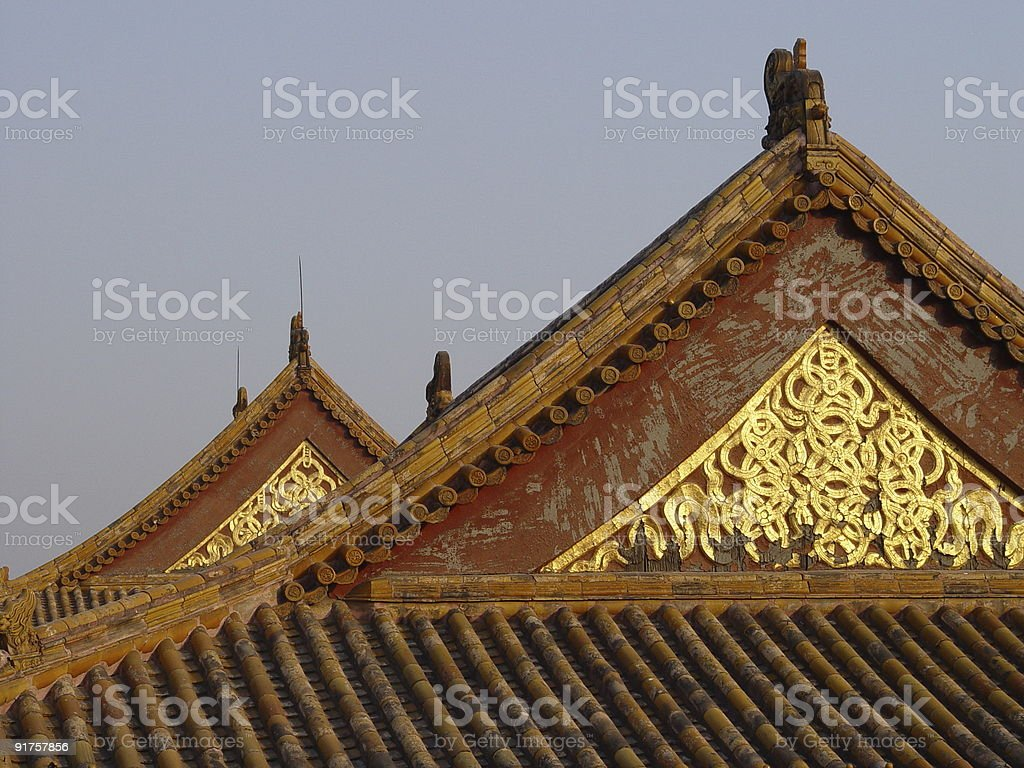 Beijing China - Glowing rooftop stock photo