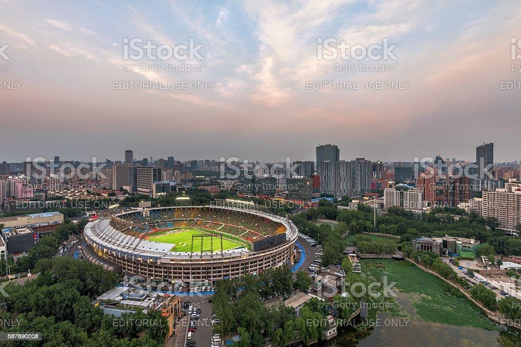 Beijing, China skyline and stadium. stock photo