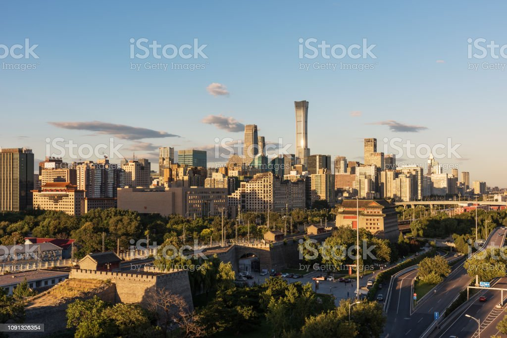 Beijing city landmarks and Ming City Wall stock photo