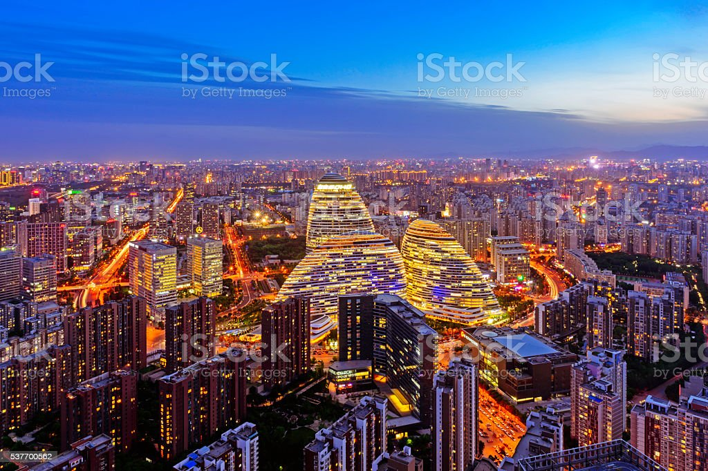 Beijing city night panorama stock photo