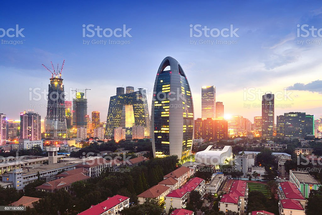 Beijing City Skyline and CCTV Headquarters, China stock photo