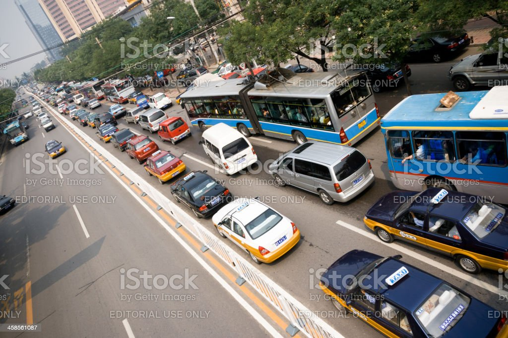 Beijing City Street Traffic Jam With Cars royalty-free stock photo